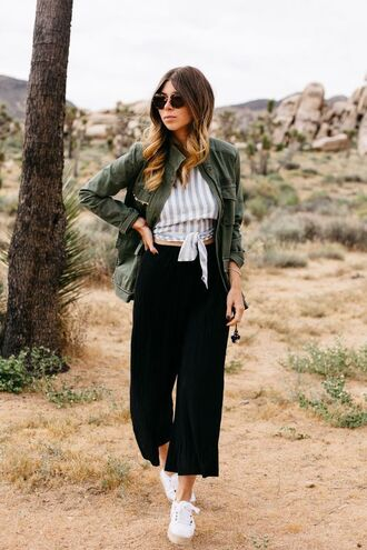 pants tumblr black pants black culottes culottes cropped pants sneakers white sneakers top stripes striped top jacket army green jacket round sunglasses