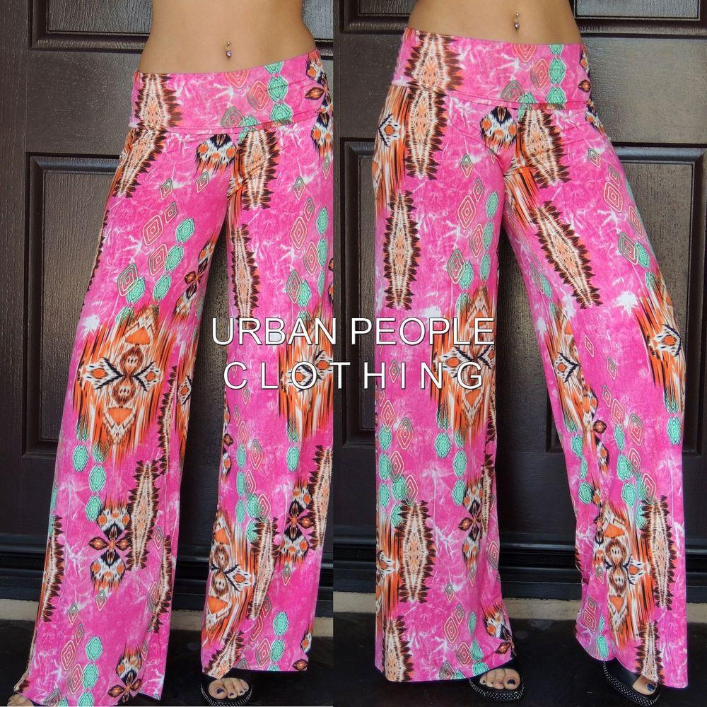 Hipie Retro Print Pink Boho Palazzo Pants Silky Stretch Fold Waist s M L USA | eBay