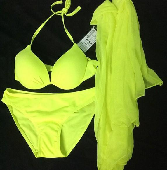 swimwear bikini bikini bottoms bikini top top green botom bottoms ootd neon green bikini beautiful sexy bikini trendy cool girl style