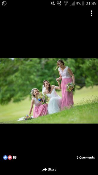 dress bridesmaid dress long pink and white lace wedding