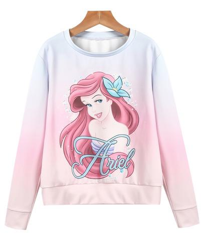 Order: disney princess ariel ombre pink sweatshirt
