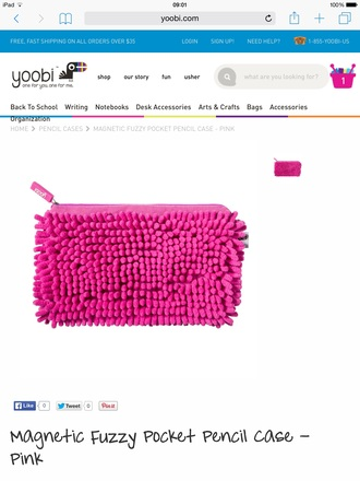 home accessory pencil case pink yoobi fluffy girly back to school