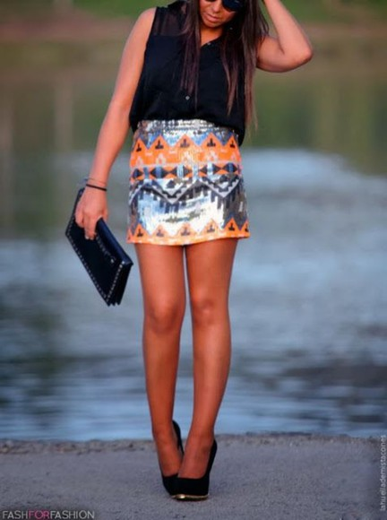 skirt sequin skirt neon skirt aztec skirt ici fashion tribal skirt icifashion aztec tribal skirt aztec sequin skirt