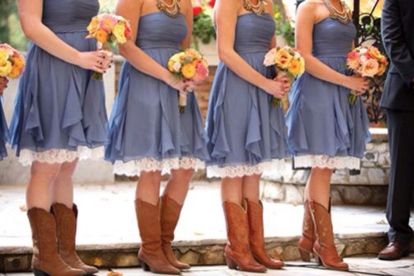 Dress, Denim Dress, Lace, Bridesmaid, Country Style