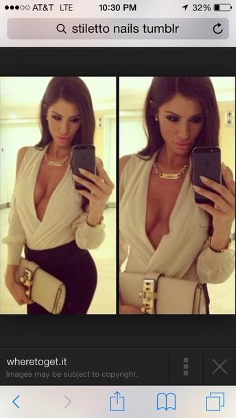 blouse deep plunge neckline