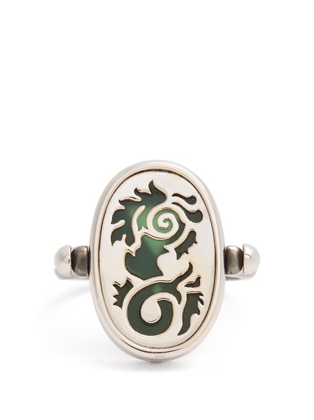 ELIE TOP ring silver green jewels