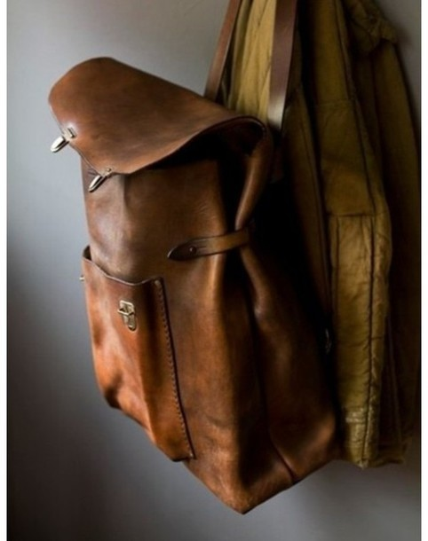 bag hipster brown bag leather antique old school soft grunge