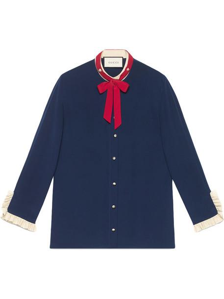 gucci shirt women blue silk top