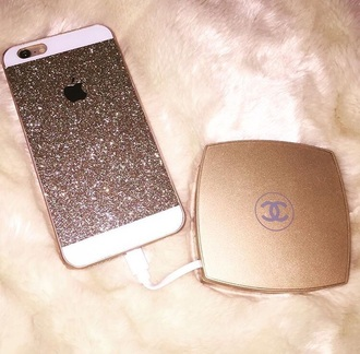 home accessory gold chanel shiny technology phone charger
