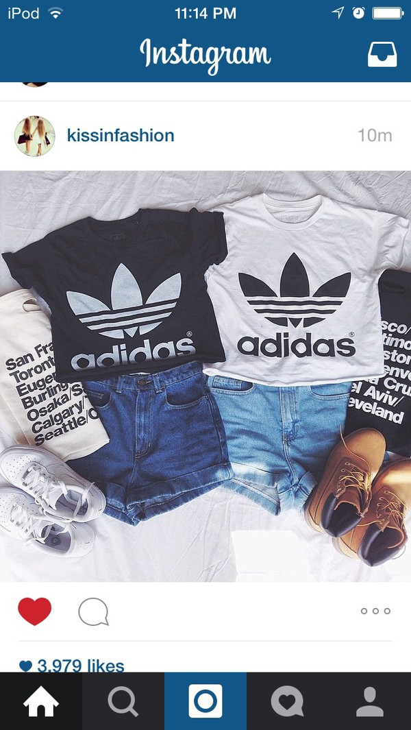 2419868ff7115 classic white adidas swag sexy style crop top tshirt fresh boss dope ...