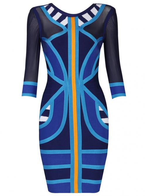 Stripe Spell Color Mesh Long Sleeve Bandage Dress H549 $129