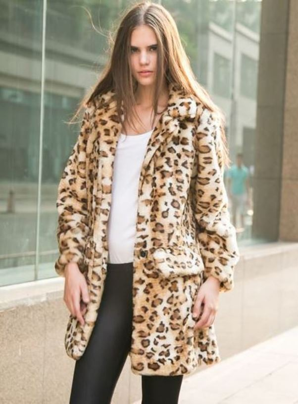 Print Long Line Soft Faux Fur Coat