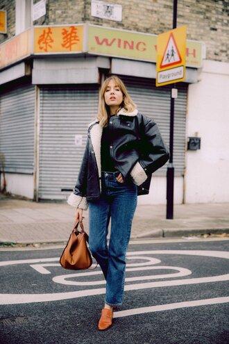 jeans tumblr blue jeans boots brown boots ankle boots bag brown bag jacket black jacket leather jacket black leather jacket top black top