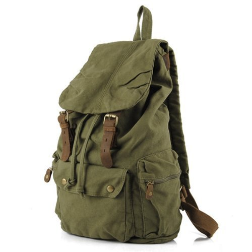 Vintage Canvas Leather Hiking Travel Military Backpack  green-in Backpacks from Luggage & Bags on Aliexpress.com