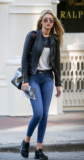 sneakers,gigi hadid,fall outfits,jacket