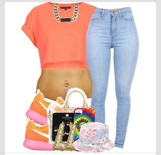 shoes roshe runs pink orange nike jeans sneakers colorful dope yellow girl