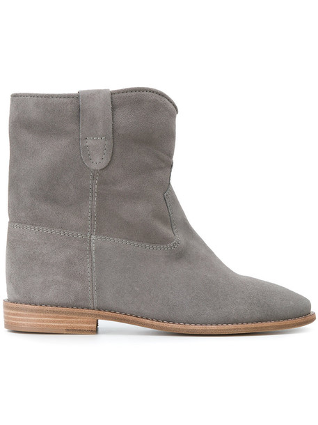 Isabel Marant women ankle boots leather suede grey shoes