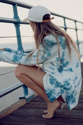 sweater,hat,jumper,blue,girl,sweatshirt,shirt,white,white shirt,tie dye