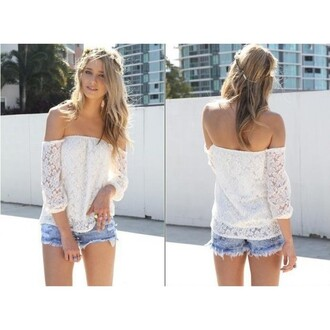 blouse white blouse lace pierced tulle top sweet half sleeve shoulder lace blouse princess fashion sexy party white lace jeans shorts off the shoulder azteque printed dress daphne burki shirt