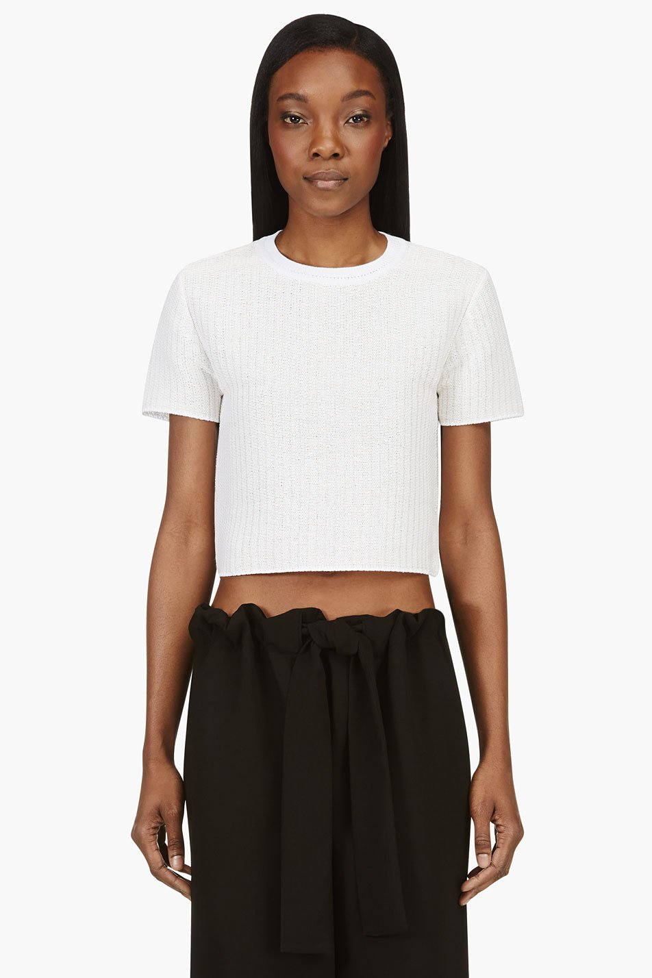 alexander wang ivory crop technical tweed t_shirt