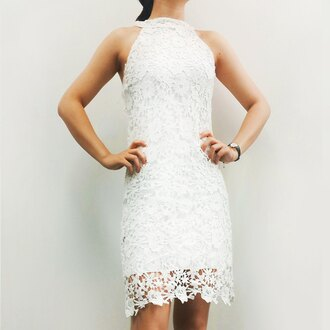 dress white lace fashion spring summer halter dress girly gamiss