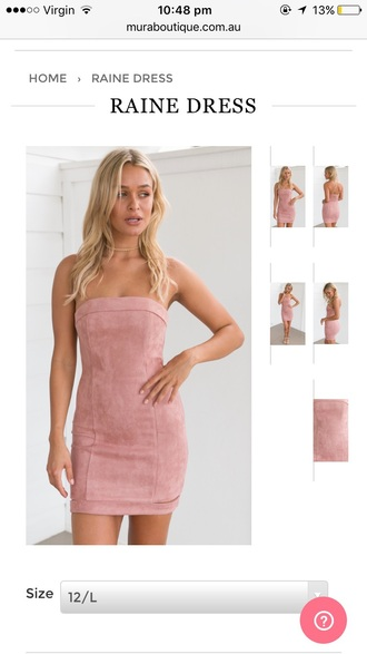 dress suede bodycon strapless dusty pink