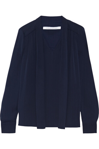 blouse bow silk navy top