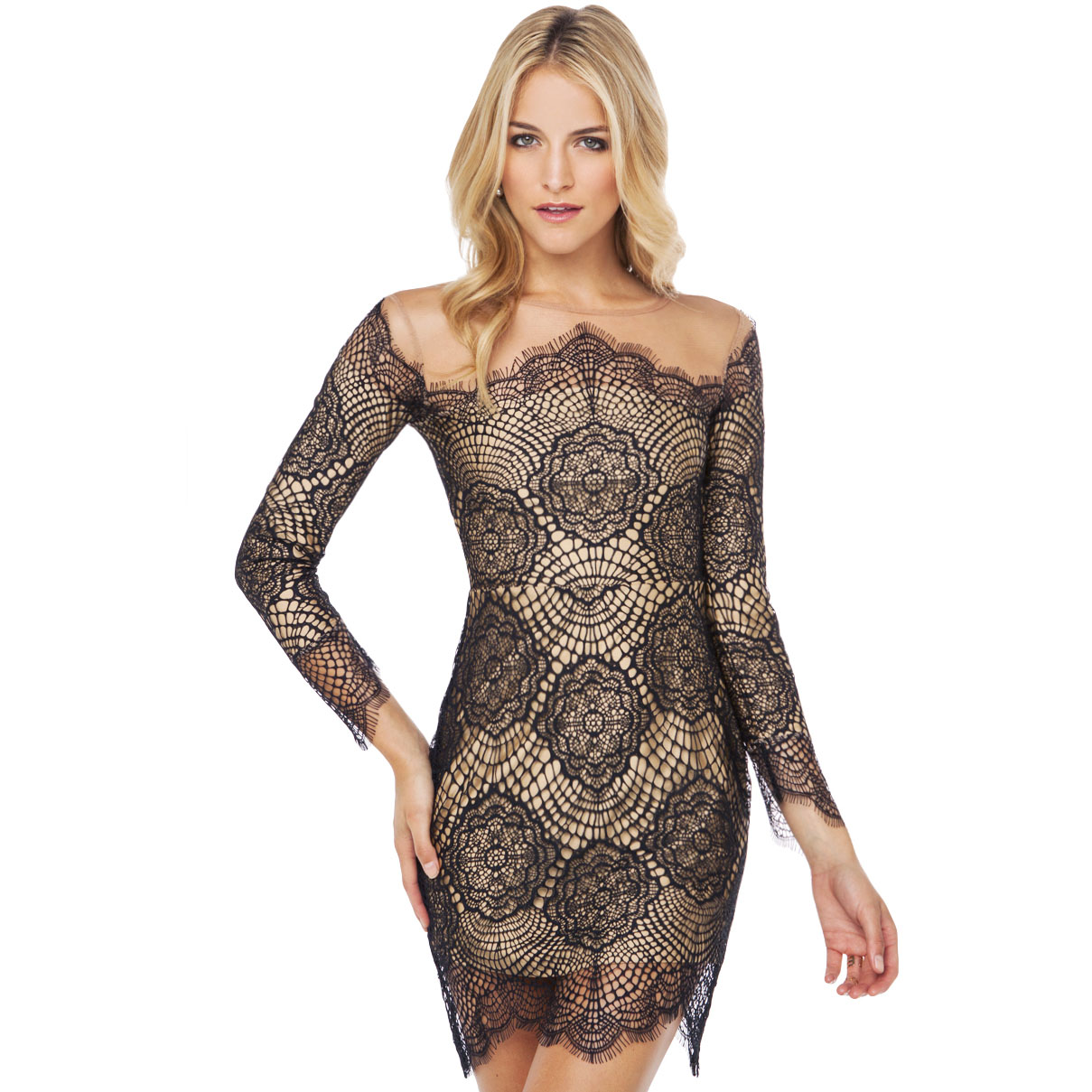 Aliexpress.com : Buy Free Shipping 2014 fashion Luxury lace gauze patchwork lining long sleeve o neck dress one piece dress from Reliable dress jeans suppliers on ED FASHION.
