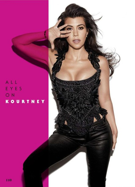 top bustier pants kourtney kardashian all black everything black top kardashians editorial