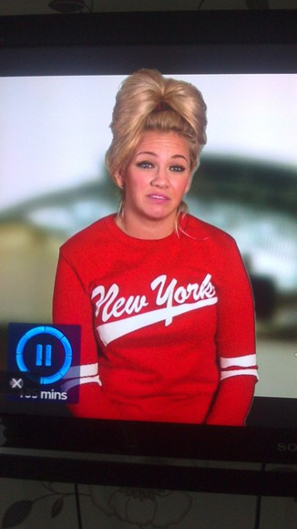 red new york sweater white carly the valleys