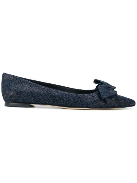 Tory Burch bow women leather blue shoes