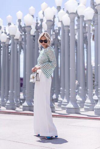top sunglasses tumblr mint blue top bell sleeves pants white pants wide-leg pants bag shoes