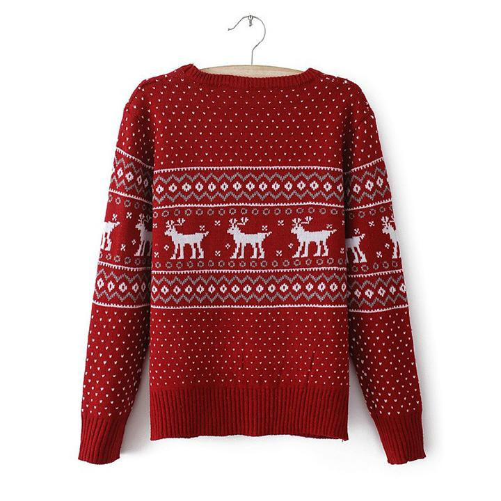 Brand New 1Pcs XMAS Women Girls Clothing Deer Dot Pattern Red Cute Sweet Kniterwear Sweater For Christmas Free Shipping-in Pullovers from Apparel & Accessories on Aliexpress.com