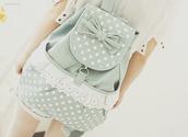 bag,ulzzang,korean style,korean fashion,pastel,cute,jacket,lace,bow,backpack,polka dots,back to school,school bag,green,loop