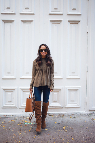 theviewfrom5'2 blogger top jeans shoes bag sunglasses jewels boots brown boots knee high boots handbag