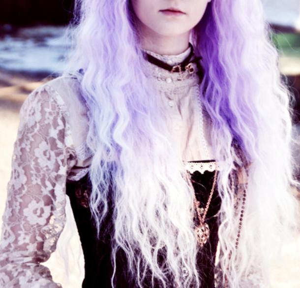 blouse pastel goth pastel goth grunge purple black goth goth hipster necklace wig beach hair fashion lace white gold pretty girly lolita cute top shirt collar corset kawaii choker necklace