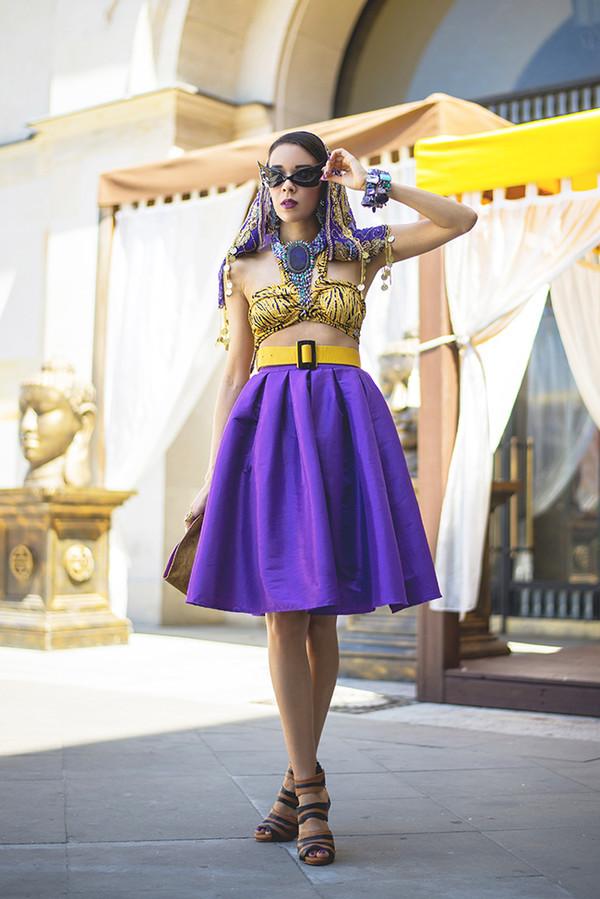 macademian girl skirt top belt shoes scarf bag jewels sunglasses