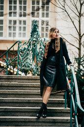 skirt,tumblr,black skirt,pencil skirt,leather skirt,black leather skirt,midi skirt,top,black top,coat,black coat,boots,black boots,ankle boots,all black everything,embroidered