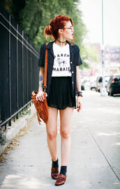 le happy,blouse,shoes,bag,hipster,goth hipster,goth,leather,paris,leather bag,glasses,mini skirt,vintage,blogger,necklace,bracelets,marais,quote on it,t-shirt,skirt,leather shoes,shirt,red loafers