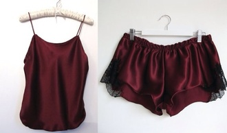 tank top wine burgundy pajamas silk shorts red lingerie blouse lingerie lingerie set