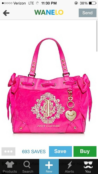 111fdb3825c1f6 bag daydreamer juicy juicy couture pink hot pink bows cute girly purse purse