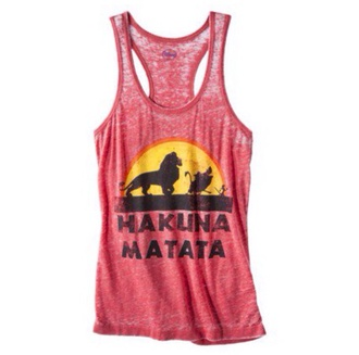 tank top hakuna matata red yellow black cute lion king timon and pumba disney quote on it cartoon