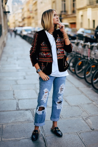 en vogue coop blogger jacket shirt pants shoes jewels embellished jacket gucci princetown gucci gucci shoes ripped jeans blue jeans top white top printed jacket embroidered embroidered jacket watch black shoes boho jacket