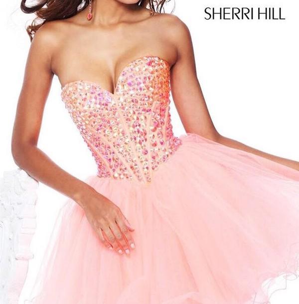 dress sherri hill pink dress homecoming dress short homecoming dress homecoming dress beads homecoming dress 2016 pink homecoming dress 2016 cocktail dress party dress