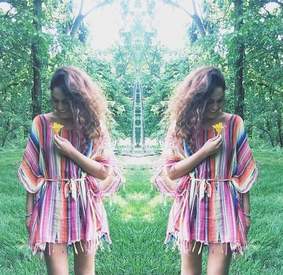 fringe stripes hippie fringed dress rainbow