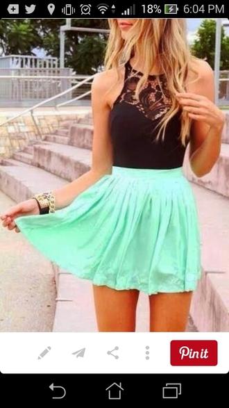 skirt mint skirt black crop top lace at the top shirt