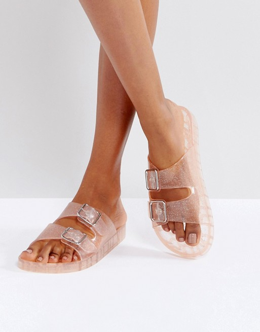 502da4826 Bershka Clear Glitter Jelly Sandal at asos.com
