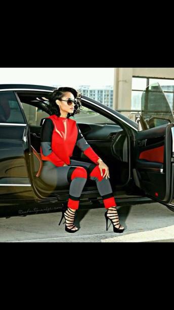 top red black grey sandal heels shoes sunglasses