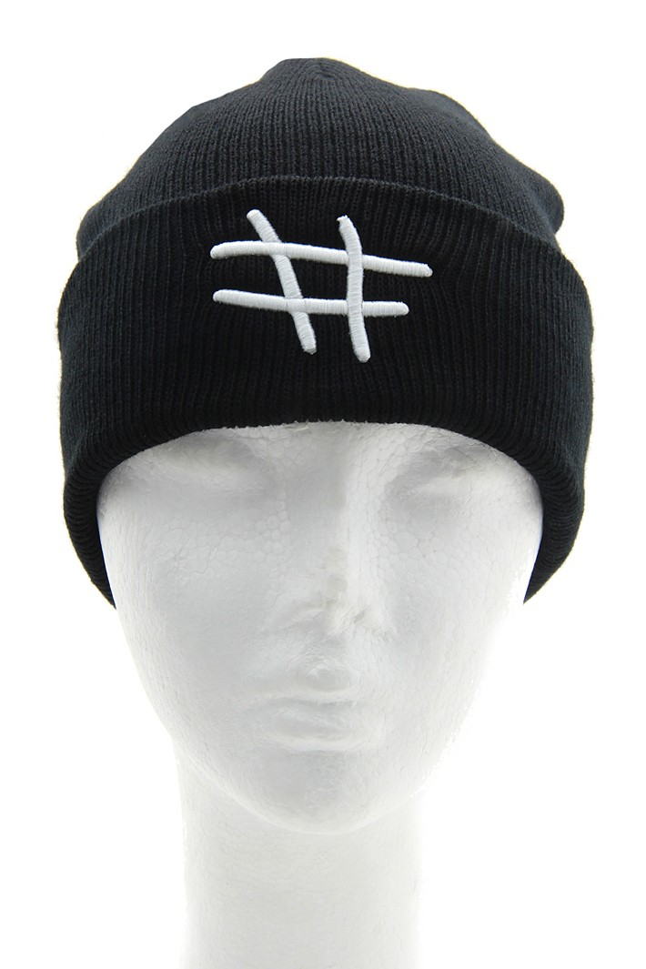 Number Print Knit Beanie - Black / White