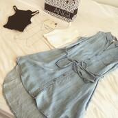 dress,angl,denim,denim dress,tie waist,light blue,ootd